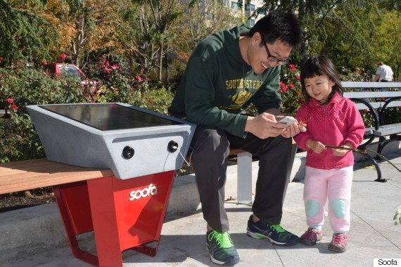 Edmonton's Solar-Powered Benches Can Charge Your Phone by Ahmed Fattouh in Edmonton AB