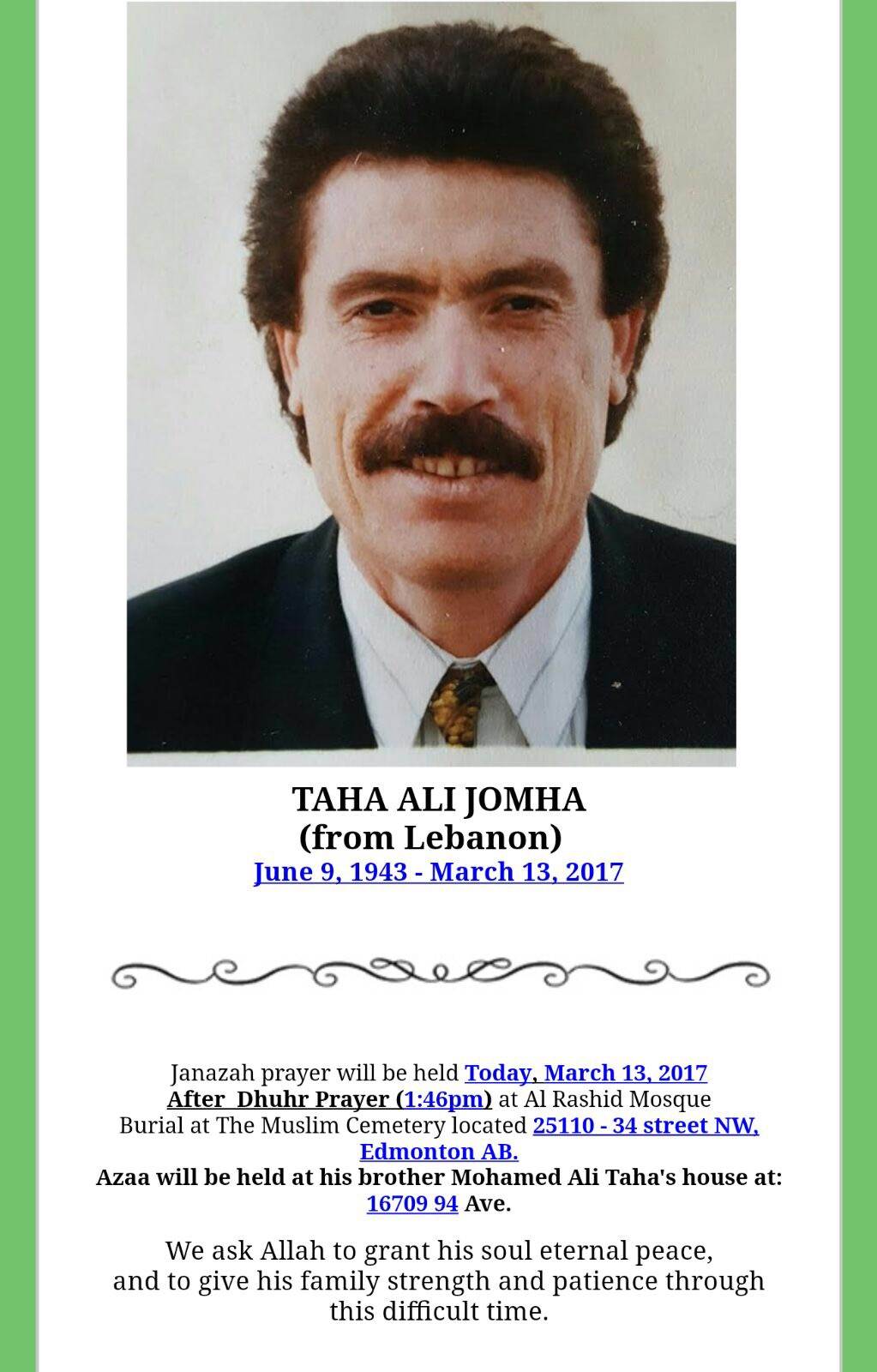 Taha Ali Jomha by Giants in Edmonton AB